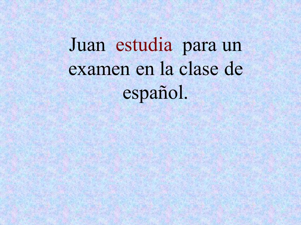 Juan estudia para un examen en la clase de español.