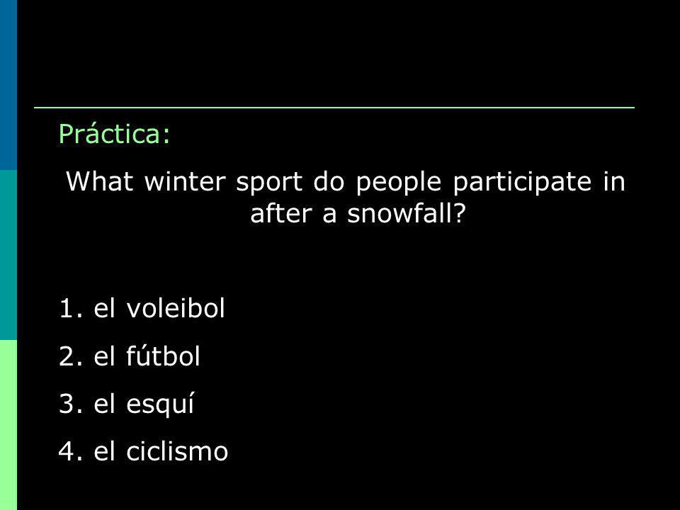 Práctica: What winter sport do people participate in after a snowfall.