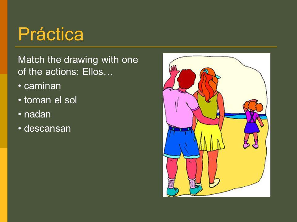 Práctica Match the drawing with one of the actions: Ellos… caminan toman el sol nadan descansan
