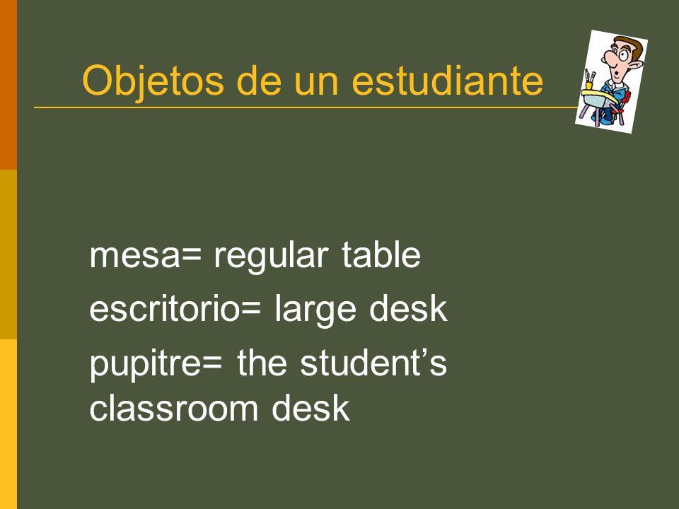 Objetos de un estudiante mesa= regular table escritorio= large desk pupitre= the students classroom desk