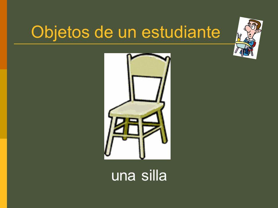 Objetos de un estudiante una silla