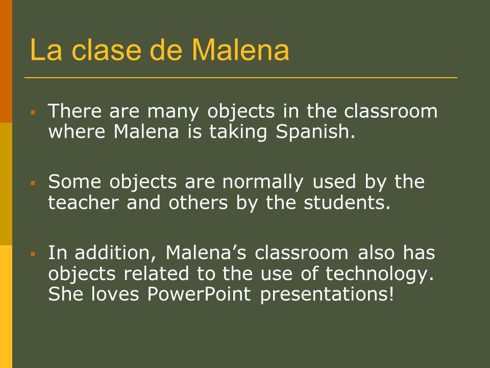 Let´s learn the name of the objects that Malena can find in her classroom.