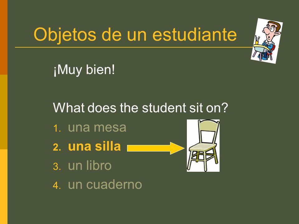 Objetos de un estudiante ¡Muy bien! What does the student sit on? 1. una mesa 2. una silla 3. un libro 4. un cuaderno