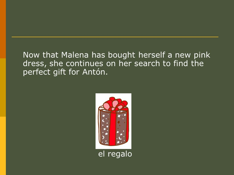 Now that Malena has bought herself a new pink dress, she continues on her search to find the perfect gift for Antón.