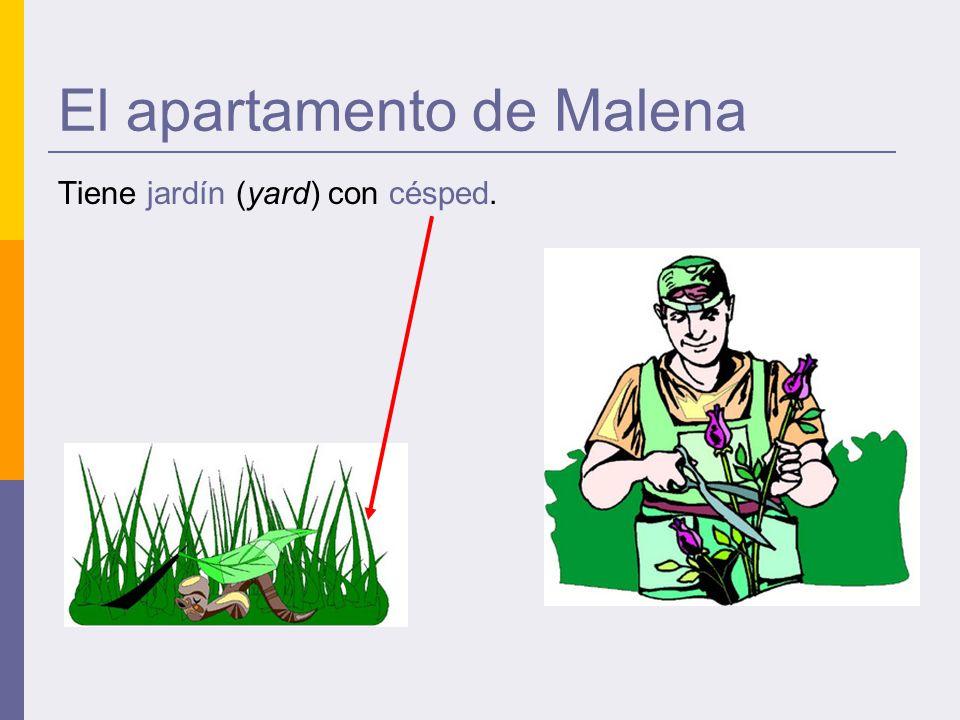 El apartamento de Malena Tiene jardín (yard) con césped.