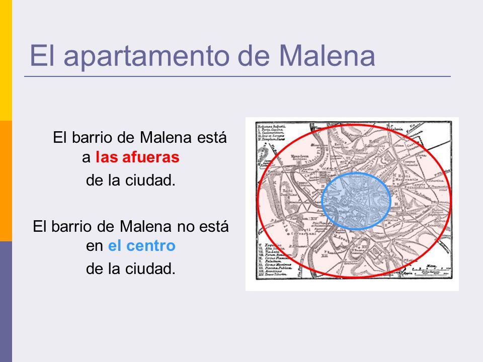 El apartamento de Malena El barrio de Malena está a las afueras de la ciudad.