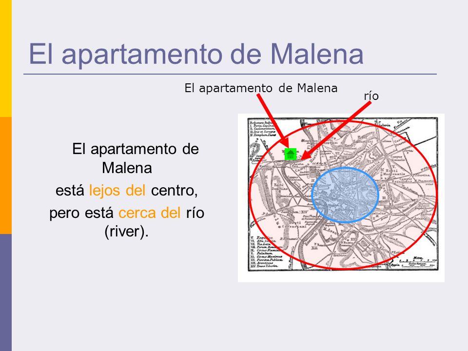El apartamento de Malena está lejos del centro, pero está cerca del río (river).