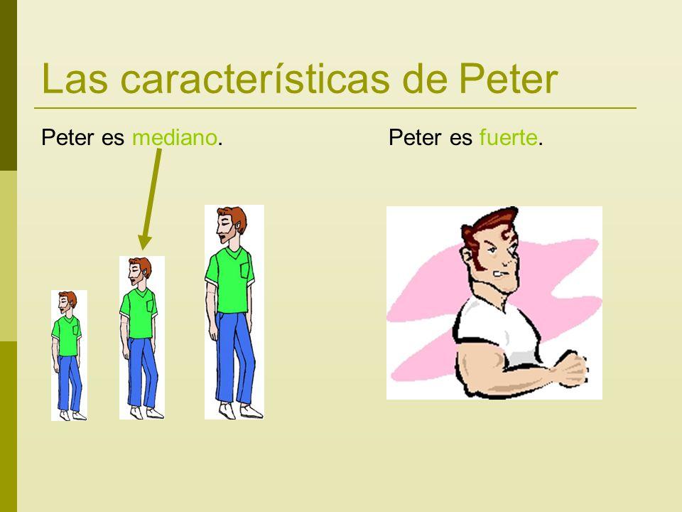 Las características de Peter Peter es mediano. Peter es fuerte.