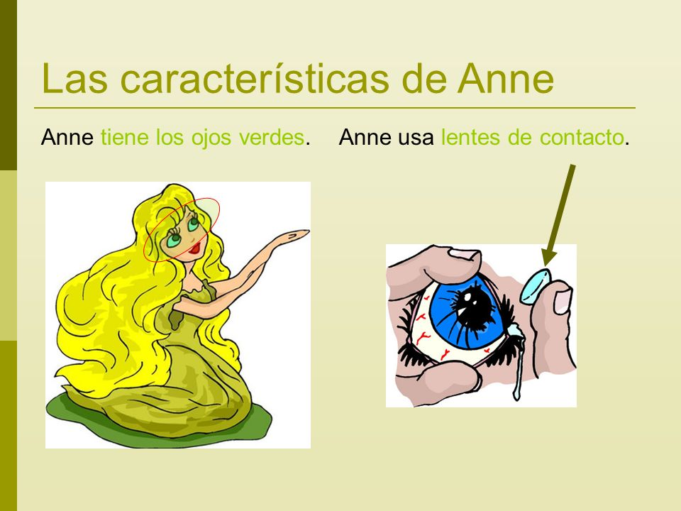 Las características de Anne Anne tiene los ojos verdes. Anne usa lentes de contacto.