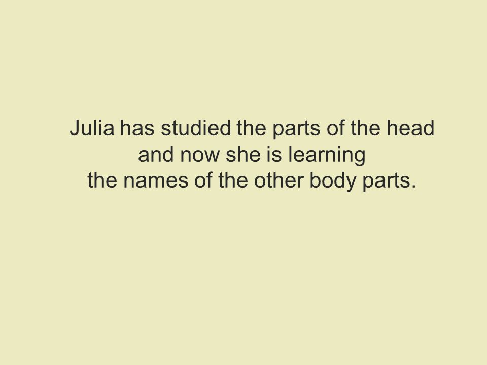 Julia has studied the parts of the head and now she is learning the names of the other body parts.