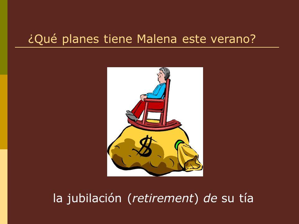 la jubilación (retirement) de su tía ¿Qué planes tiene Malena este verano?