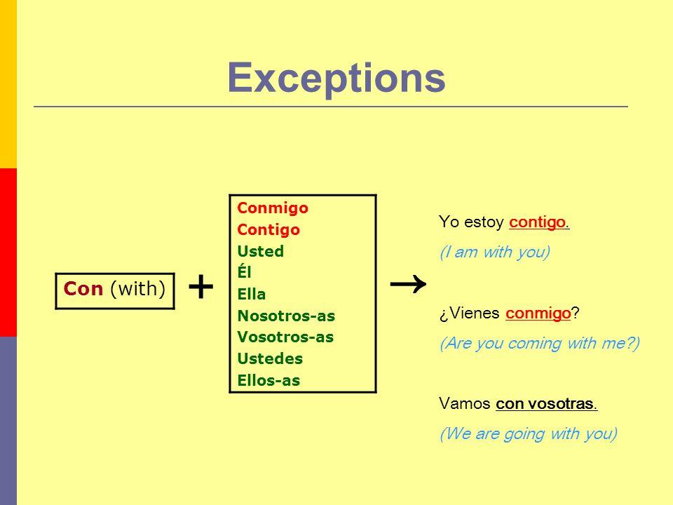 Exceptions + Conmigo Contigo Usted Él Ella Nosotros-as Vosotros-as Ustedes Ellos-as Con (with) Yo estoy contigo. (I am with you) ¿Vienes conmigo? (Are