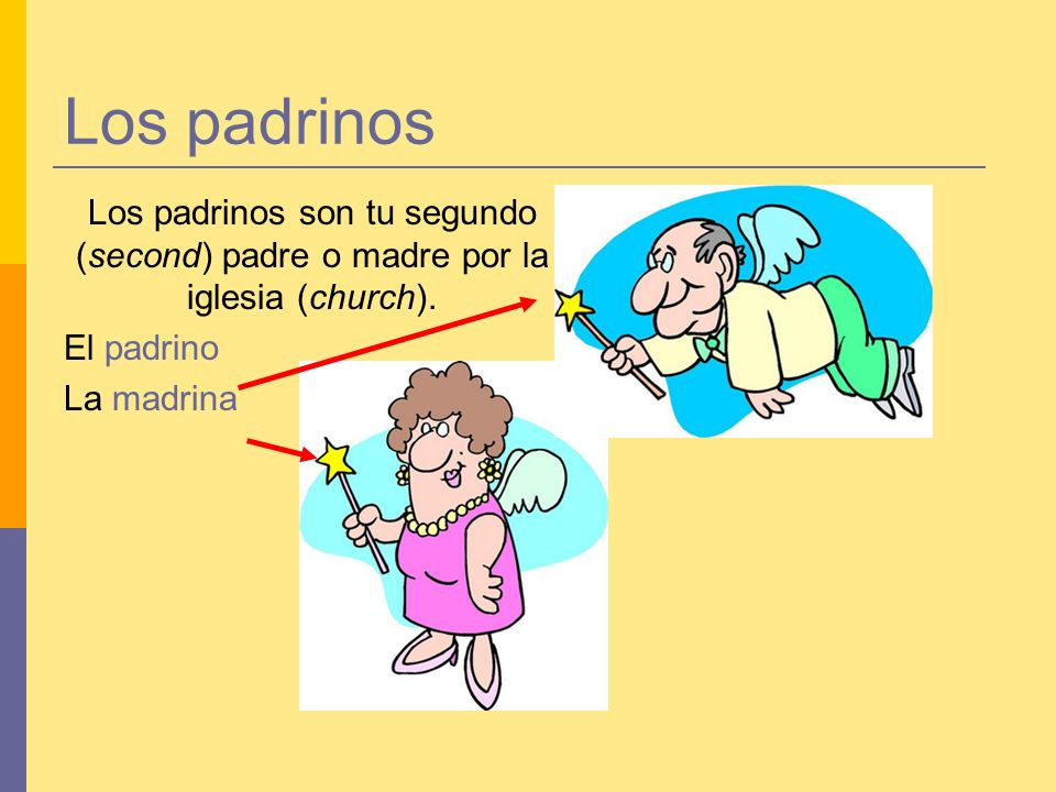 Los padrinos Los padrinos son tu segundo (second) padre o madre por la iglesia (church).