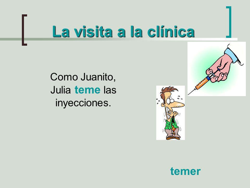 La visita a la clínica Como Juanito, Julia teme las inyecciones. temer
