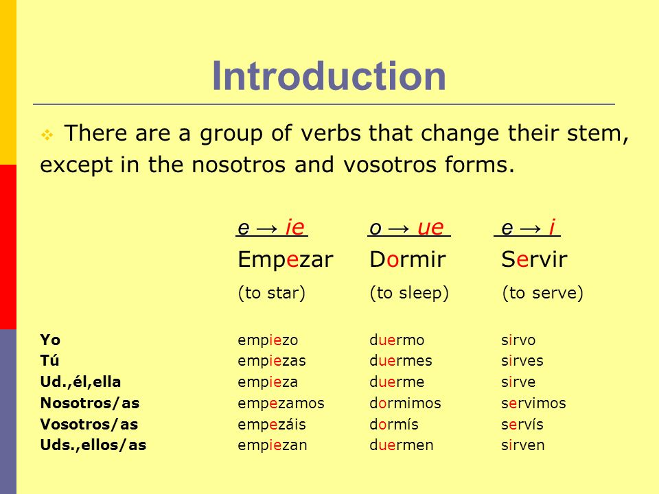 Examples of e ie Here are some commonly used verbs and their present form conjugation: Cerrar (to close): Cierro, cierras, cierra, cerramos, cerrais, cierran Entender (to understand): Entiendo, entiedes, entiende, entendemos, entendeis, entienden Querer (to love, to want): Quiero, quieres, quiere, queremos, quereis, quieren