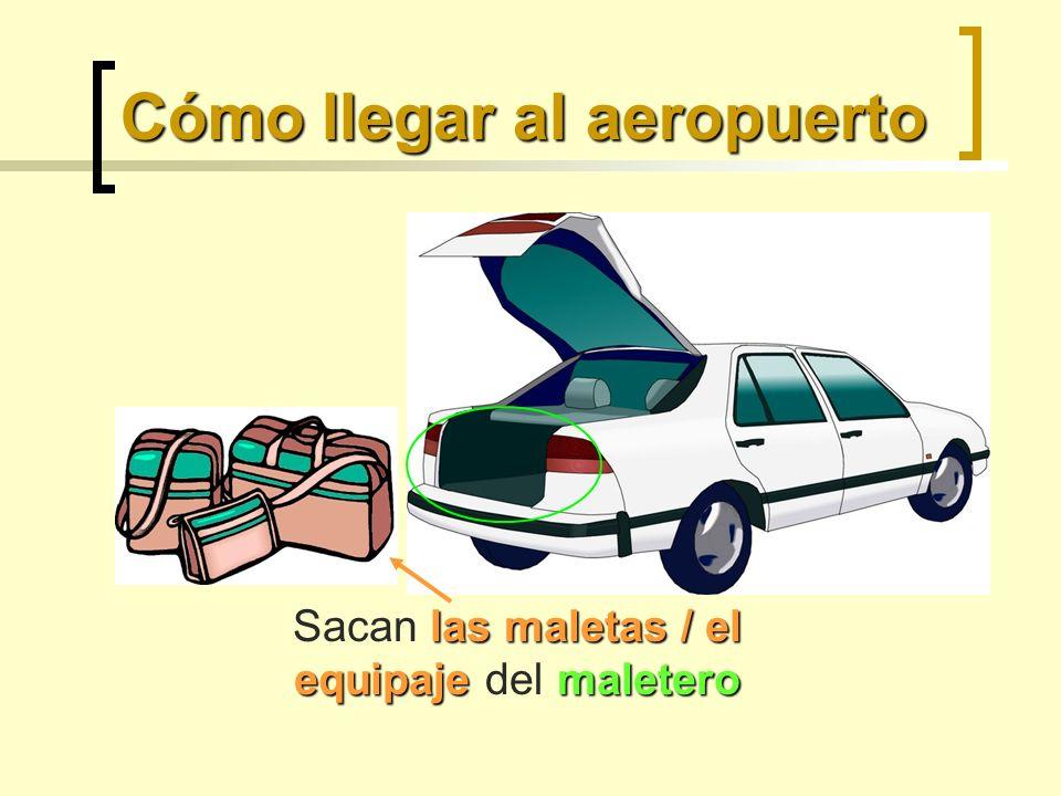 Cómo llegar al aeropuerto las maletas / el equipaje maletero Sacan las maletas / el equipaje del maletero