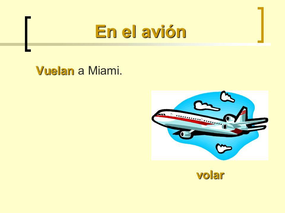En el avión Vuelan Vuelan a Miami. volar