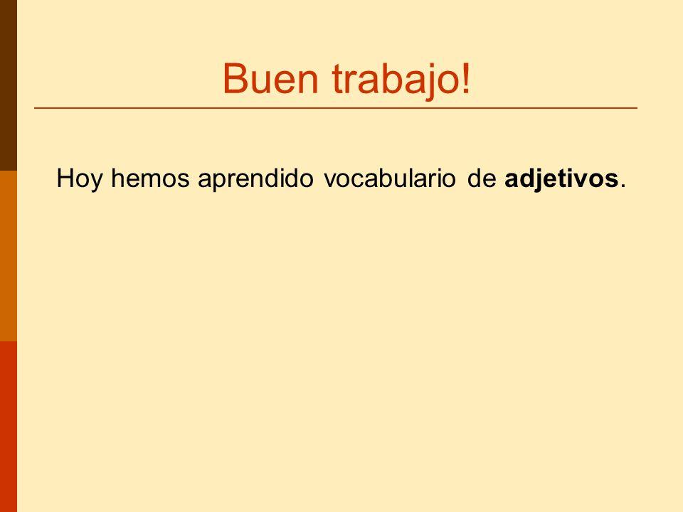 Buen trabajo! Hoy hemos aprendido vocabulario de adjetivos.