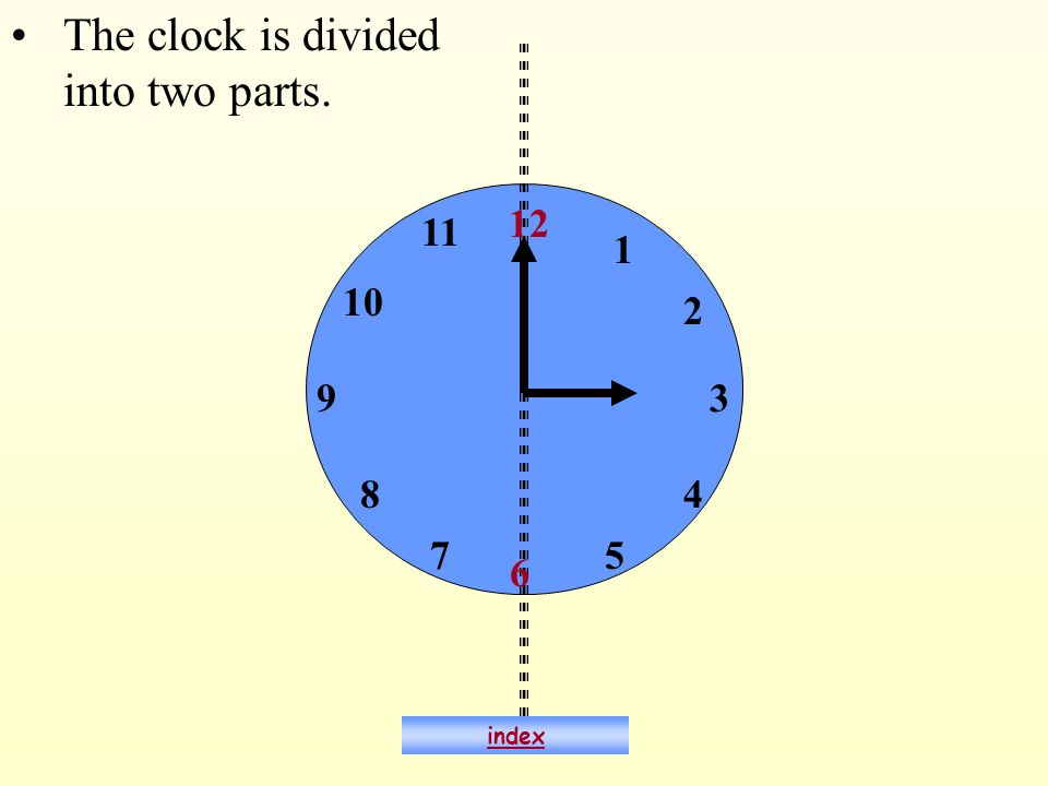 6 12 93 The clock is divided into two parts. 1 2 4 57 8 10 11 index