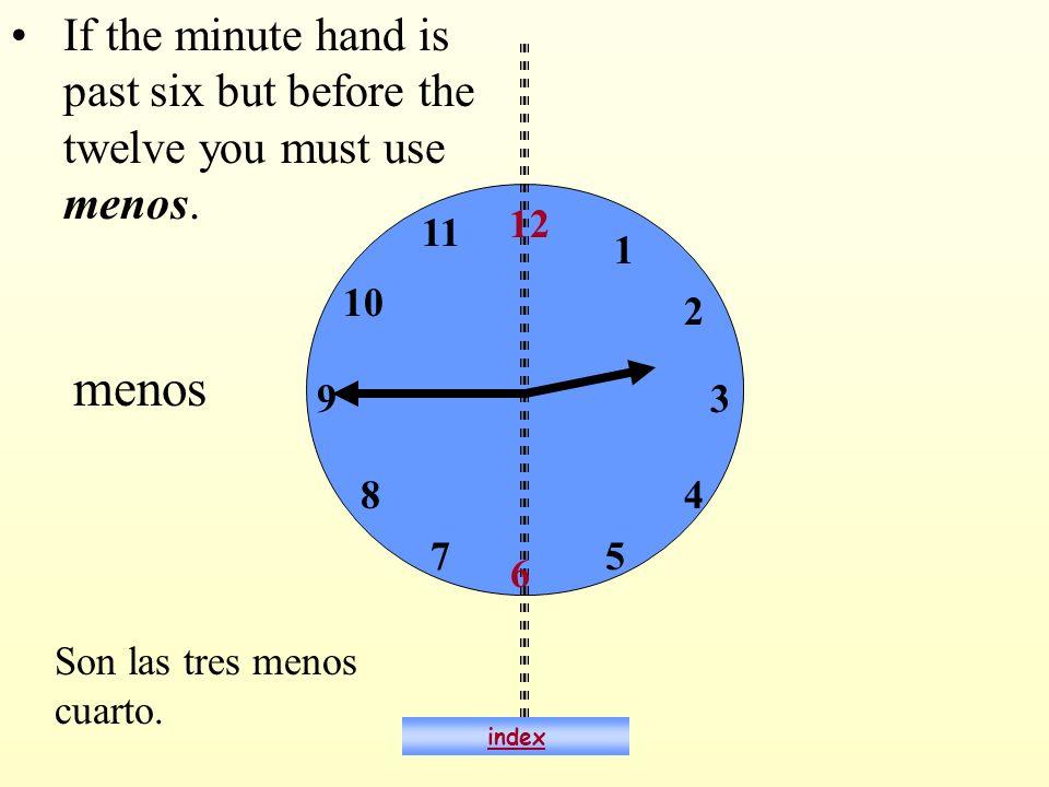 ¿Qué hora es? Son las siete menos cuarto. 6:45 index
