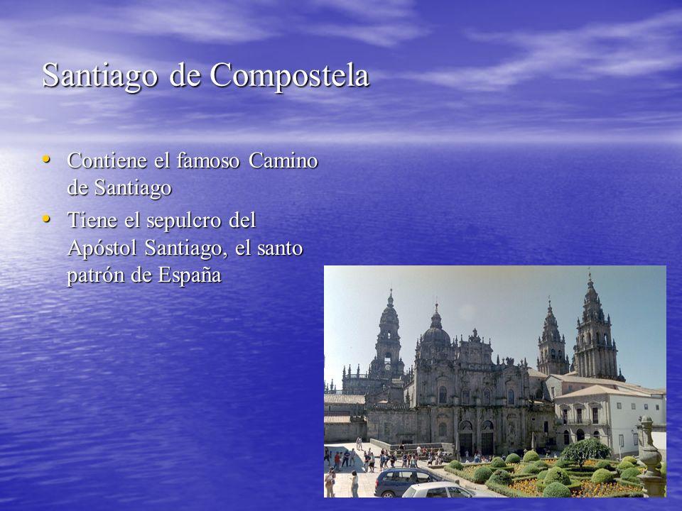 Santiago de Compostela Contiene el famoso Camino de Santiago Contiene el famoso Camino de Santiago Tiene el sepulcro del Apóstol Santiago, el santo pa