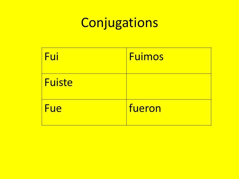 Conjugations FuiFuimos Fuiste Fuefueron