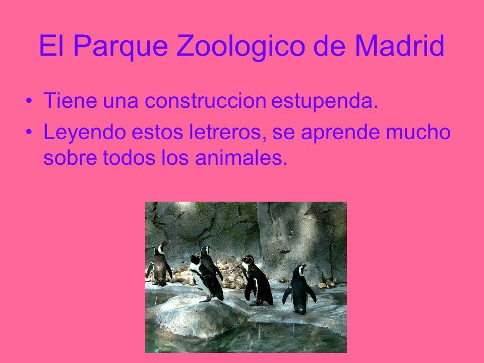 El Parque Zoologico de Madrid Tiene una construccion estupenda. Leyendo estos letreros, se aprende mucho sobre todos los animales.