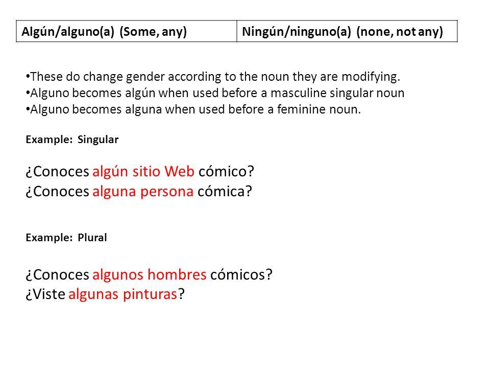 Algún/alguno(a) (Some, any)Ningún/ninguno(a) (none, not any) Ninguno changes to ningún in front of a masculine noun.