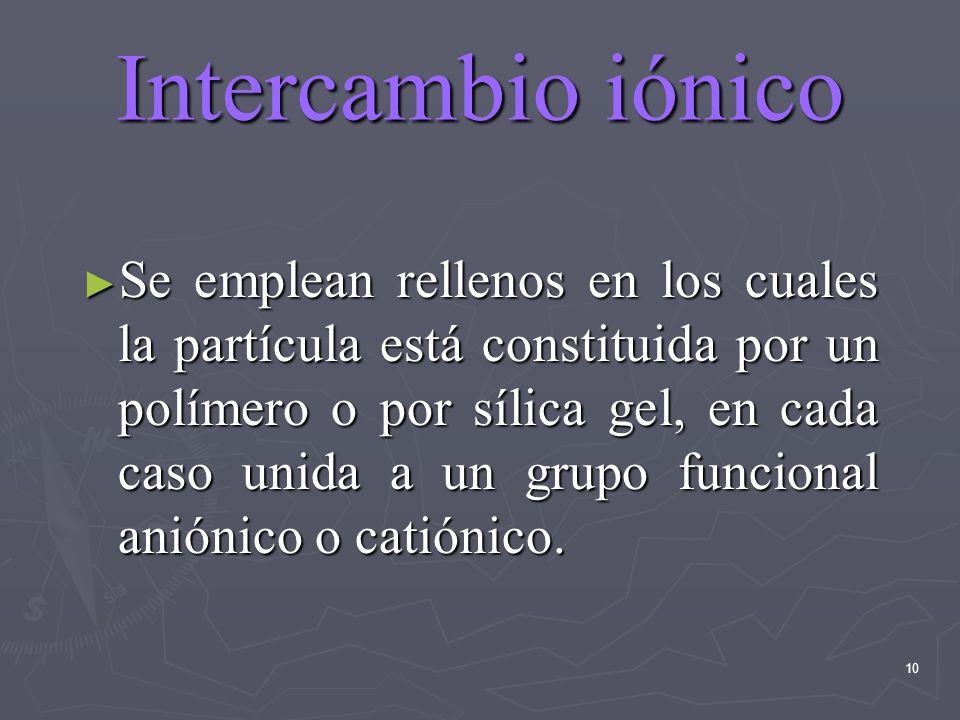 10 Intercambio iónico Se emplean rellenos en los cuales la partícula está constituida por un polímero o por sílica gel, en cada caso unida a un grupo