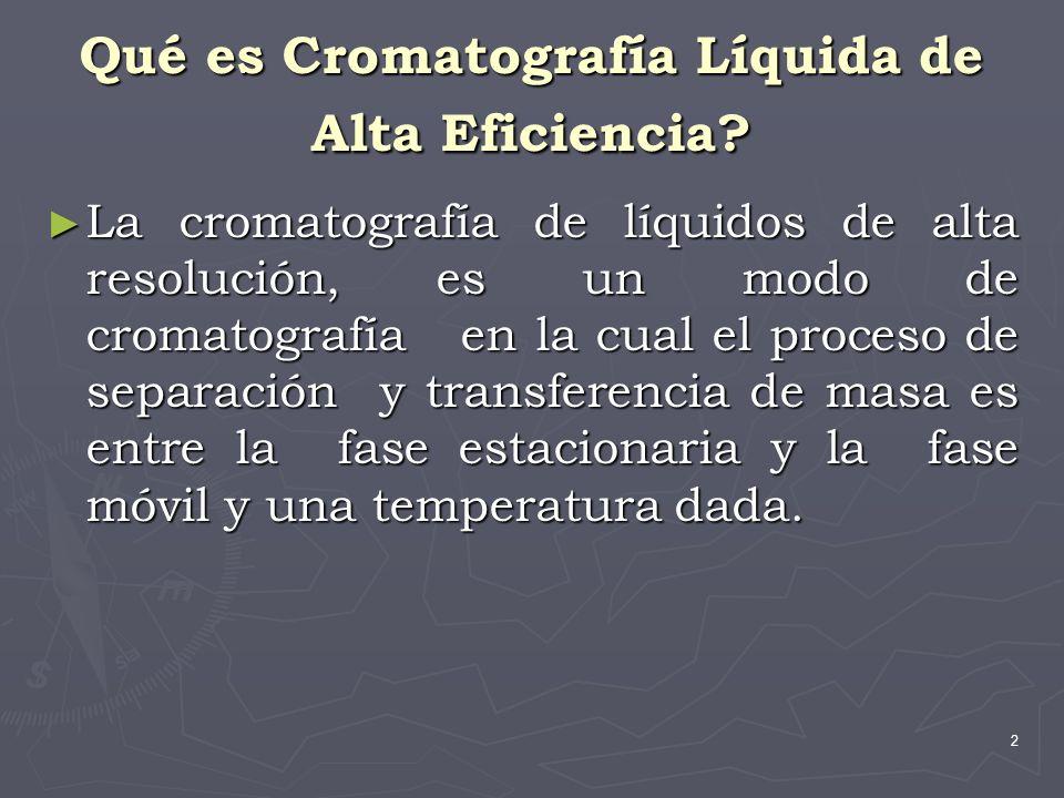 2 Qué es Cromatografía Líquida de Alta Eficiencia? La cromatografía de líquidos de alta resolución, es un modo de cromatografía en la cual el proceso