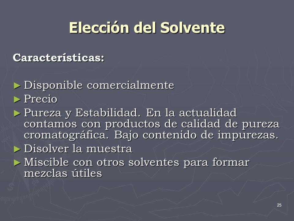 25 Elección del Solvente Características: Disponible comercialmente Disponible comercialmente Precio Precio Pureza y Estabilidad. En la actualidad con