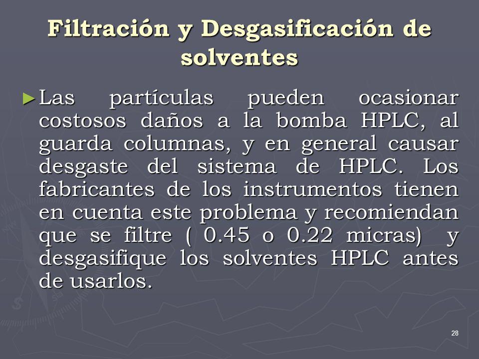 28 Filtración y Desgasificación de solventes Las partículas pueden ocasionar costosos daños a la bomba HPLC, al guarda columnas, y en general causar d