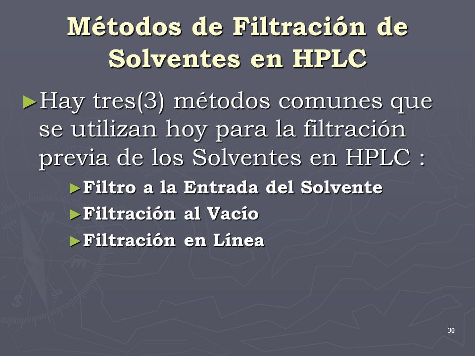 30 Métodos de Filtración de Solventes en HPLC Hay tres(3) métodos comunes que se utilizan hoy para la filtración previa de los Solventes en HPLC : Hay