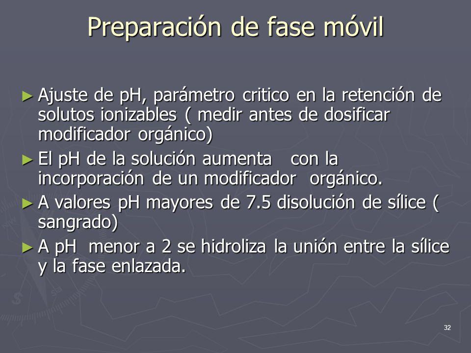 32 Preparación de fase móvil Ajuste de pH, parámetro critico en la retención de solutos ionizables ( medir antes de dosificar modificador orgánico) Aj