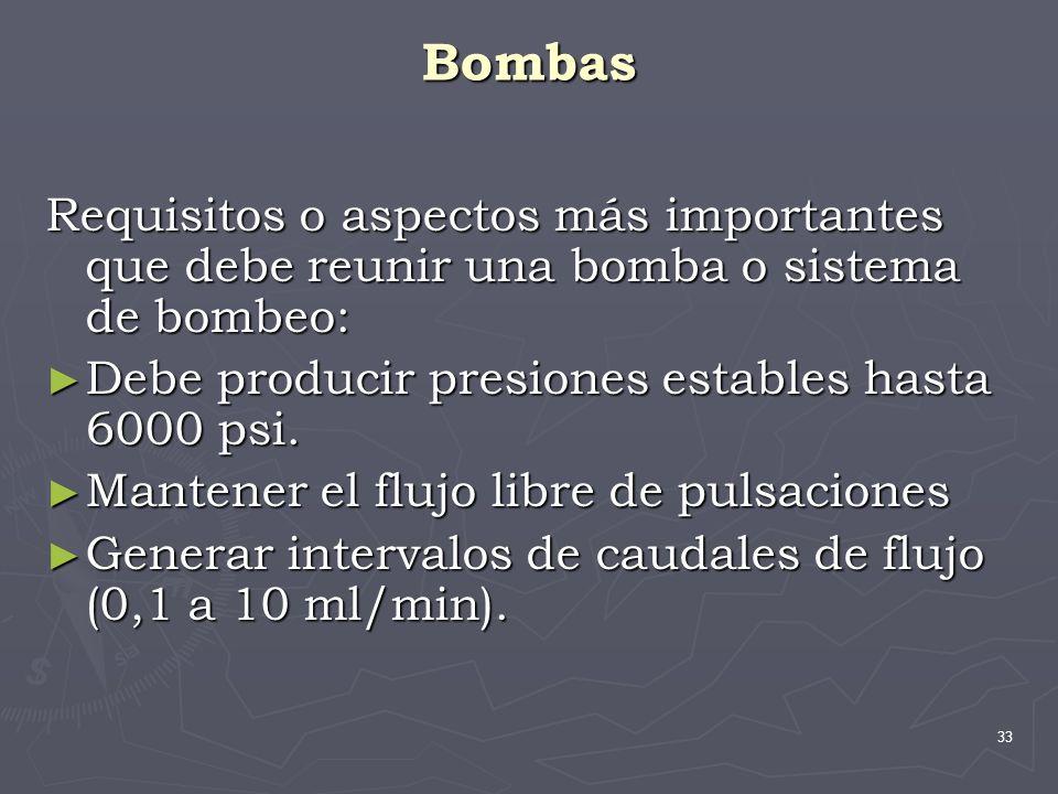 33 Bombas Requisitos o aspectos más importantes que debe reunir una bomba o sistema de bombeo: Debe producir presiones estables hasta 6000 psi. Debe p