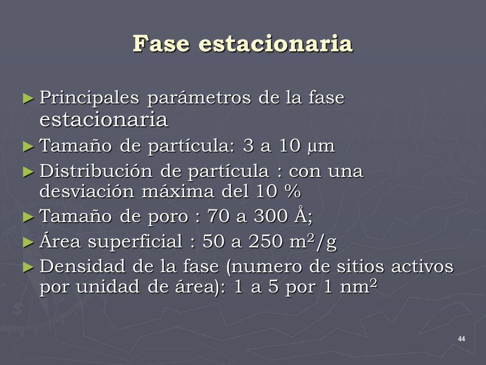 44 Fase estacionaria Principales parámetros de la fase estacionaria Principales parámetros de la fase estacionaria Tamaño de partícula: 3 a 10 µm Tama