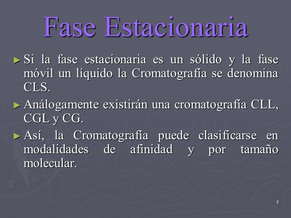 7 Fase Estacionaria Si la fase estacionaria es un sólido y la fase móvil un líquido la Cromatografía se denomina CLS. Si la fase estacionaria es un só