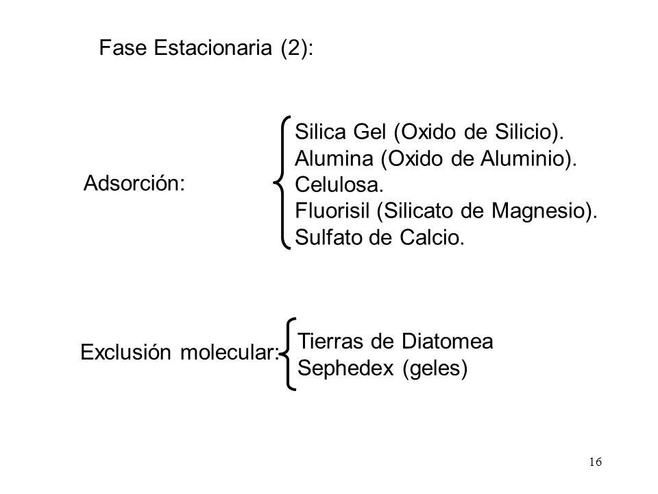 16 Exclusión molecular: Tierras de Diatomea Sephedex (geles) Adsorción: Silica Gel (Oxido de Silicio). Alumina (Oxido de Aluminio). Celulosa. Fluorisi