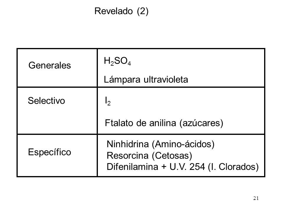 21 H 2 SO 4 Lámpara ultravioleta I 2 Ftalato de anilina (azúcares) Ninhidrina (Amino-ácidos) Resorcina (Cetosas) Difenilamina + U.V. 254 (I. Clorados)