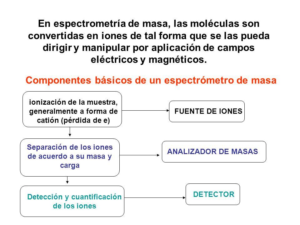 En espectrometría de masa, las moléculas son convertidas en iones de tal forma que se las pueda dirigir y manipular por aplicación de campos eléctrico