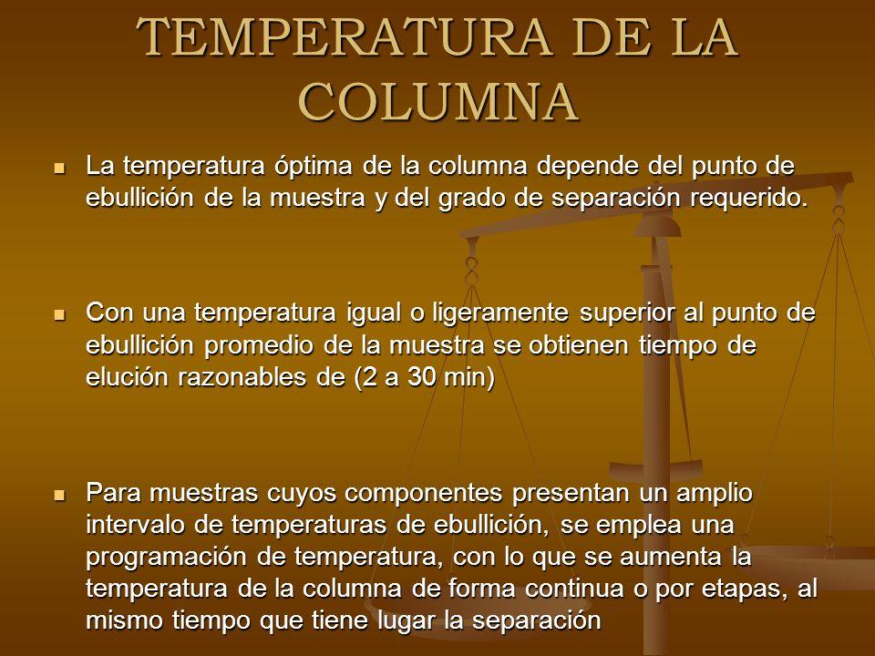 TEMPERATURA DE LA COLUMNA La temperatura óptima de la columna depende del punto de ebullición de la muestra y del grado de separación requerido. La te
