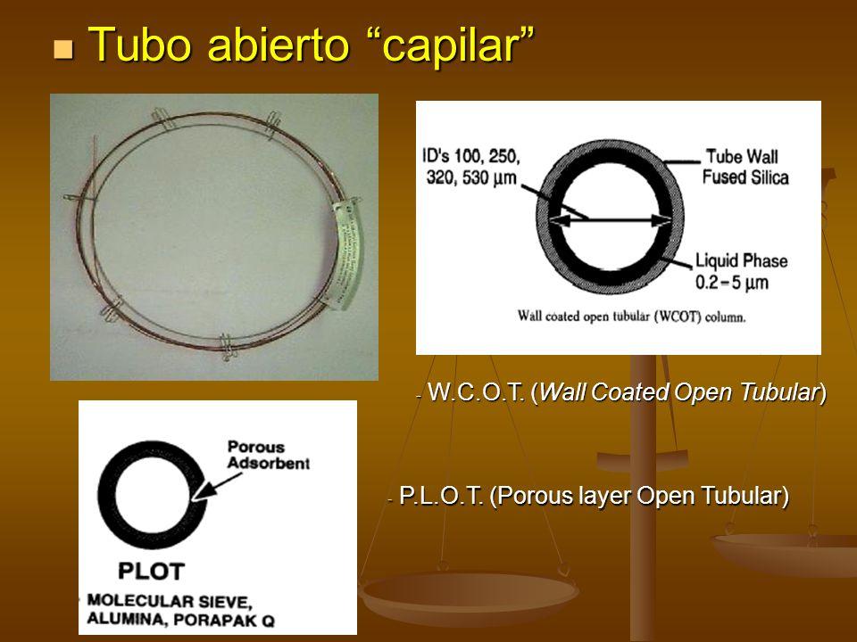 Tubo abierto capilar Tubo abierto capilar - P.L.O.T. (Porous layer Open Tubular) - W.C.O.T. (Wall Coated Open Tubular)