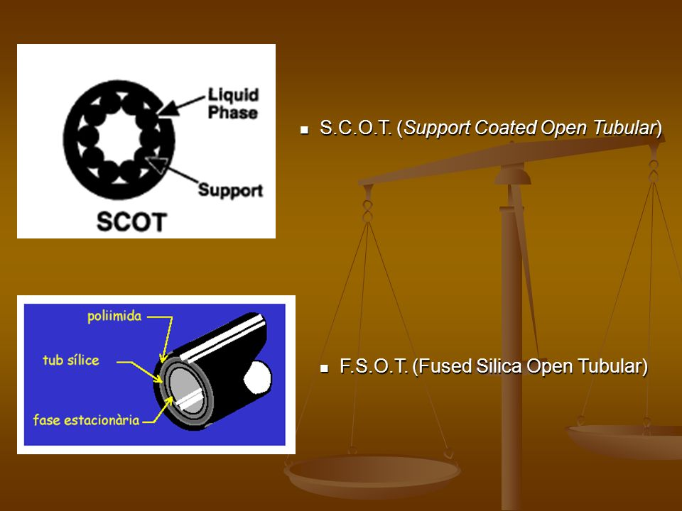F.S.O.T. (Fused Silica Open Tubular) F.S.O.T. (Fused Silica Open Tubular) S.C.O.T. (Support Coated Open Tubular) S.C.O.T. (Support Coated Open Tubular