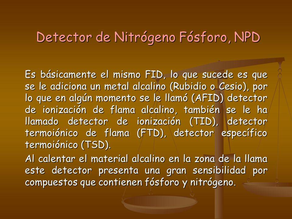 Detector de Nitrógeno Fósforo, NPD Es básicamente el mismo FID, lo que sucede es que se le adiciona un metal alcalino (Rubidio o Cesio), por lo que en