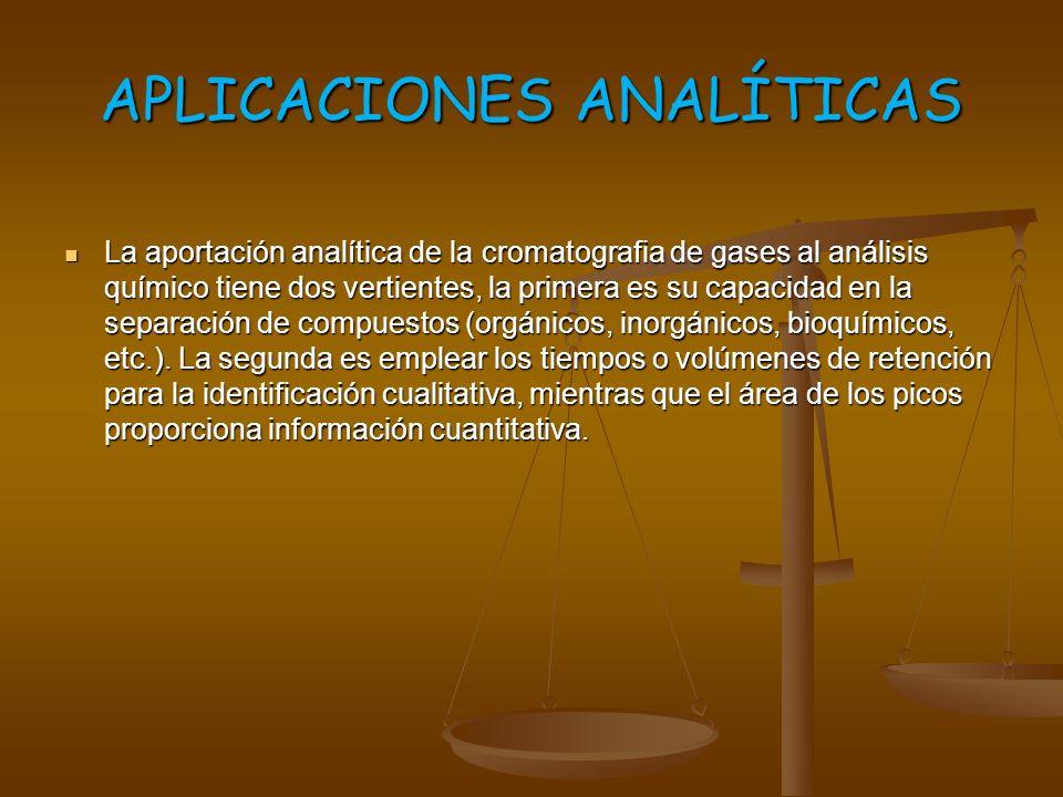 APLICACIONES ANALÍTICAS La aportación analítica de la cromatografia de gases al análisis químico tiene dos vertientes, la primera es su capacidad en l