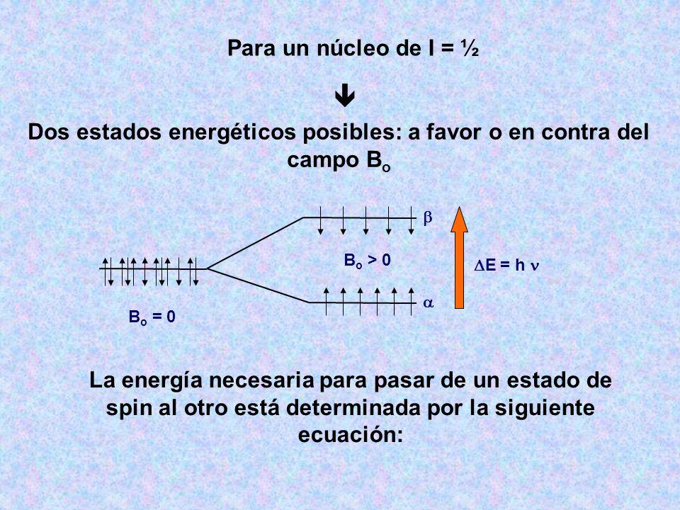 B o = 0 B o > 0 E = h Para un núcleo de I = ½ Dos estados energéticos posibles: a favor o en contra del campo B o La energía necesaria para pasar de u