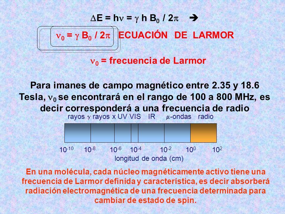 E = h = h B 0 / 2 0 = B 0 / 2 ECUACIÓN DE LARMOR 10 -10 10 -8 10 -6 10 -4 10 -2 10 0 10 2 longitud de onda (cm) rayos rayos x UV VIS IR -ondas radio 0