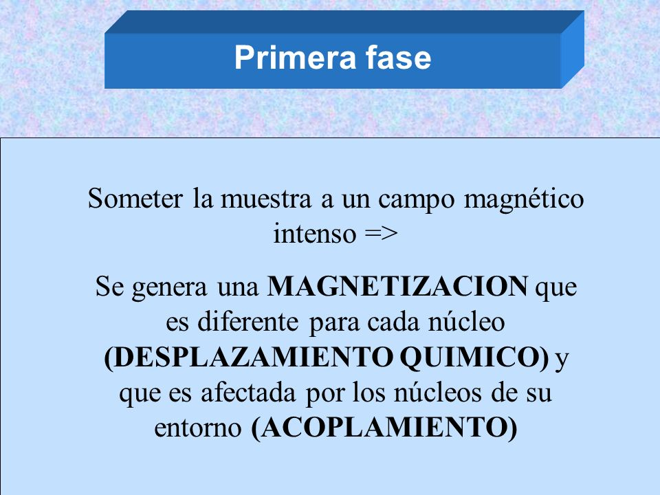 Primera fase Someter la muestra a un campo magnético intenso => Se genera una MAGNETIZACION que es diferente para cada núcleo (DESPLAZAMIENTO QUIMICO)