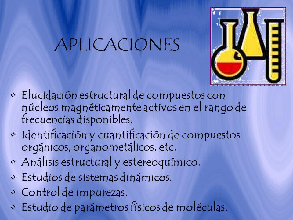 APLICACIONES Elucidación estructural de compuestos con núcleos magnéticamente activos en el rango de frecuencias disponibles. Identificación y cuantif