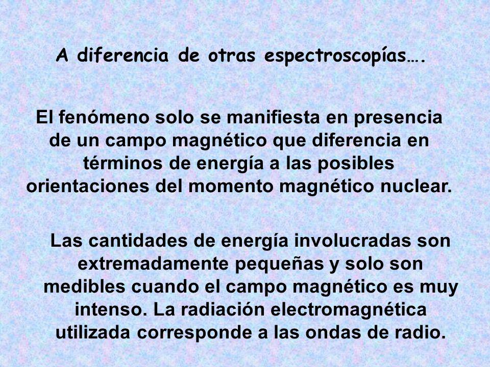 Segunda fase Al irradiar la muestra con una onda de radio de igual frecuencia que la de precesión de los núcleos (EN RESONANCIA) => Se altera la magnetización en equilibrio generada (EXCITACION)